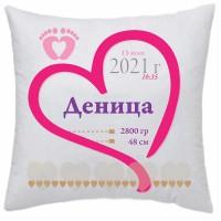 Възглавничка за бебе-визитка за подарък с пожелание или снимка, квадрат